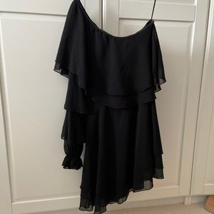 NWT Nordstrom Endless Rose asymmetric black dress